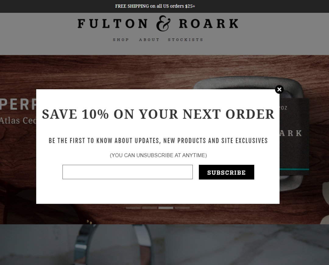 fulton & roak - praella shopify agency - wisepops - pop up ab test