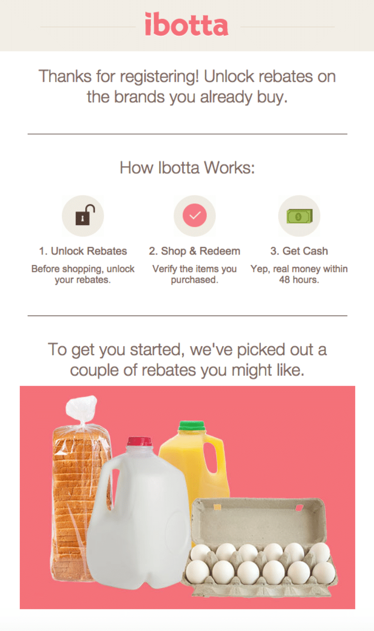 Example of a clever ecommerce transactional email from ibotta. Example for Shopify and Shopify Plus merchants.